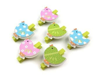 6 mini clothespins birds colourful