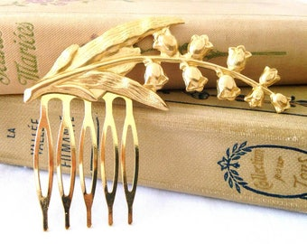 Lily of the Valley brass hair comb raw matte gold
