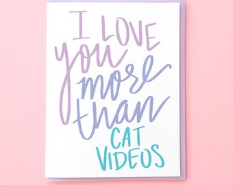 Cat Valentine. Funny Valentine. Card for Boyfriend. Card for Girlfriend. Best Friend Card. Love You Card. Funny Anniversary Card. Wife Card