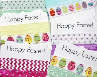 Happy Easter Hair Ties-Spring Hair Ties-Easter Baskets-School-FOE-Elastic Hair Ties-Party Favors-Hair Tie-Pony Tails