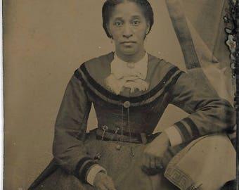 Black Americana Tintype photograph Free African American Woman Civil War Era