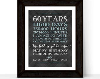 60th birthday gifts for men him husband, adult birthday gift ideas, 60th birthday decorations, Days, hours Personalized birthday gift