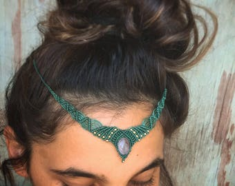MAGICAL Amathyst wedding tribal Macrame headband/ necklace with Magical Gold filled beads TRIBAL bohemian gipsy jewelry