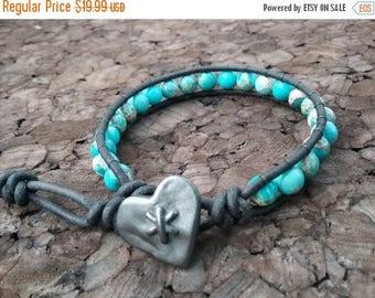 ON SALE Turquoise Imperial Jasper Bracelet, Heart Leather Wrap Bracelet, Single Wrap