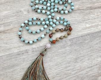 Shakti Mala ~ Amazonite, African Opal & Rose Quartz ~ 108 bead, hand knotted, tassel necklace, chakra jewelry, yoga, meditation beads