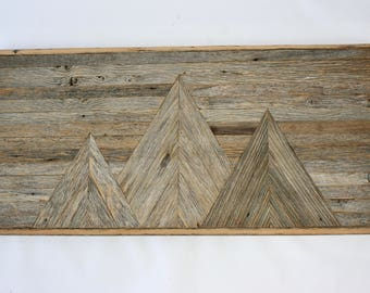 Reclaimed Barnwood Mountainscape