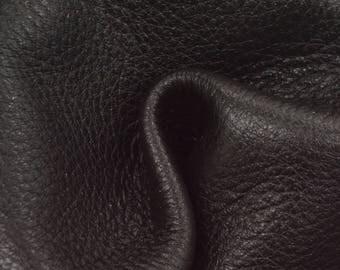 "Smokey Black Leather New Zealand Deer Hide 12"" x 12"" Pre-cut 4-4 1/2 ounces TA-56217 (Sec. 6,Shelf 4,B)"