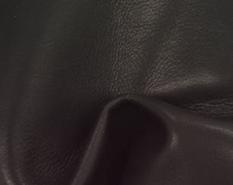 "Sleek Black Leather New Zealand Deer Hide 8"" x 10"" Pre-cut 2 1/2-3 ounces TA-56228 (Sec. 3,Shelf 4,C)"