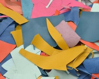 Leather Scrap Cow Hide 1 pound Various Saffiano Embossed Colors DE-66209