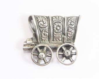Vintage Sterling Covered Wagon Brooch