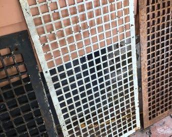 "Antique Cast Iron Heat Vent Cover Grate, measures approx 30"" x 15"""