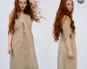 ON SALE Earth Goddess Dress, Folk, pagan, Raw dress, ozora, meditation gown, Celtic,Viking, Folk, Natural, Primitive, Natural Dress, Vikings