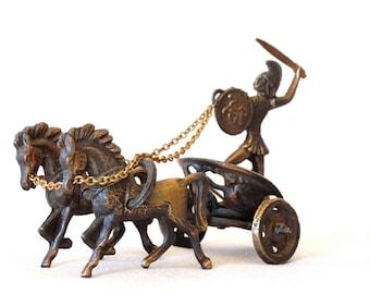Brass Chariot Statue, Warrior Statue, Brass Warrior Figurine, Gladiator Statue, Chariot Sculpture, Brass Statue, Greek Statue, Horse Statue