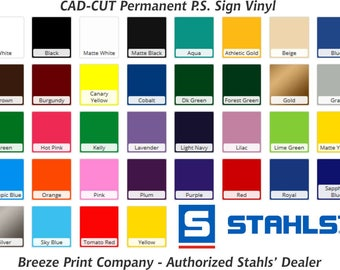 Stahls Sign Vinyl Sheet, permanent vinyl, pressure sensitive vinyl, CAD-CUT vinyl, outdoor vinyl 12x12 or 12x24 inch sheets