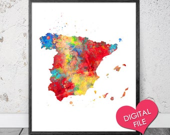 Spain Map Watercolor, PRINTABLE Art, Digital Download, Spain Watercolor, Spain Map Poster, Spain Art, Spain Print, Spain Printable Map Print