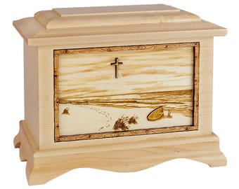 Maple Footprints in the Sand Ambassador Wood Cremation Urn
