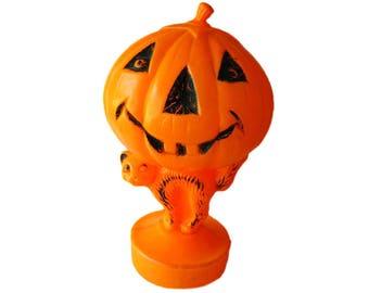 Halloween Blow Mold Plastic Pumpkin and Cat Decoration - Halloween Decoration - Vintage Halloween - Retro Halloween - Lighted Pumpkin