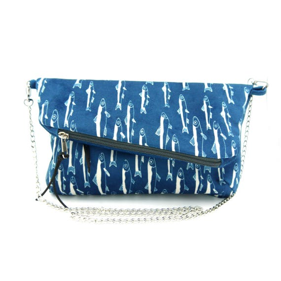 "Blue and white ""anchovies"" graphics clutch, brushed poly hand bag, foldover clutch"