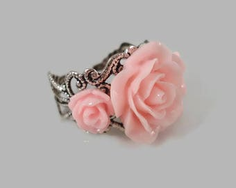 Pink Rose Ring - Adjustable -  Silver Filigree - Rose Jewelry - Flower Ring