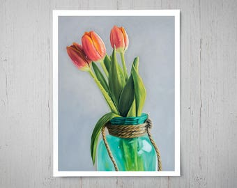 Jar of Tulips - Spring Fine Art Oil Painting Archival Giclee Print Decor by Artist Lauren Pretorius