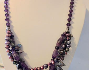 PURPLE DELIGHT ! .....Amethyst, Pearls & Crystals
