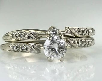Vintage Diamond Engagement Ring. Vintage Wedding Band. Wedding Ring Set.  14K White Gold