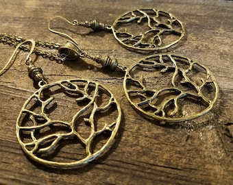 Necklace and Earrings Set, Bronze Jewelry Set, Boho Necklace Set