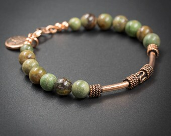 African green opal and copper bracelet, handmade semiprecious stone earth tone green opal indian copper focal bead boho bracelet.