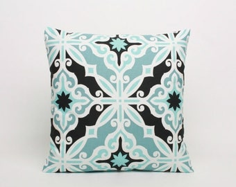 On Sale July Only Blue Black & White Pillow Cover Premier in Print Regatta Harford Pattern. Cover Designed to Fit 16, 18, 20 or 22 Inch Stan
