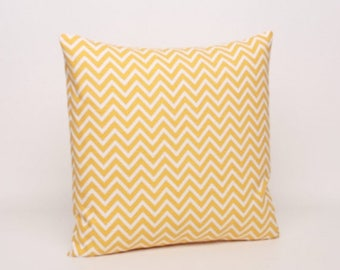 Summer Sale Yellow & White Chevron Throw Pillow Cover, Pillow Cover, Corn Yellow Cosmo Pattern. Cover is Designed to Fit 16, 18, 20 or 22 In