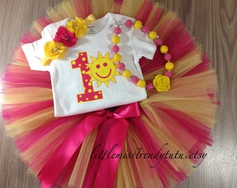Sunshine First Birthday Outfit, First Birthday Tutu Set, Pink Yellow Birthday Tutu, 1st Birthday Shirt Tutu Set, Girls Birthday Outfit, Tutu