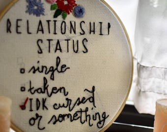 Relationship Status embroidery