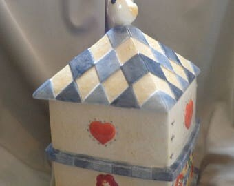 COOKIE JAR ~  Birdhouse with White Bird on Top,  Embossed, Blue and White, 1980s