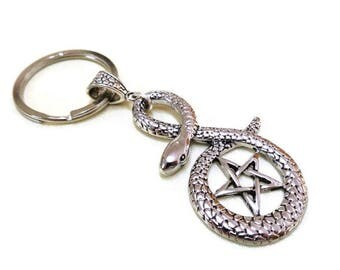 Pewter Snake and Pentagram Keyring, Pentacle Keychain, Snake Keychain, Serpent, Wiccan, Pagan, Protection Keyring, Travel Gift,Car accessory