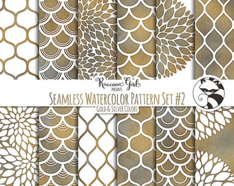 Seamless Watercolor Pattern Set #2 in Grunge Colors Digital Paper Set - Personal & Commercial Use
