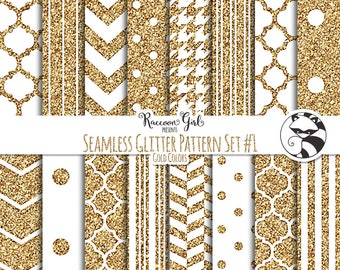 Seamless Glitter Pattern Set #1 in Gold Digital Paper Set - Personal & Commercial Use