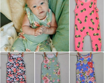 SUMMER SALE- baby romper, baby girl romper, floral romper, Newborn- 12 months, coming home outfit