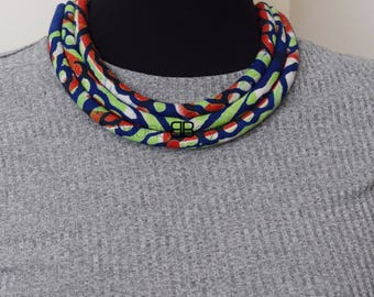 Ankara fabric necklace, wax print bib necklace, afro necklace, collier africain