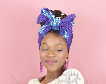 Purple & blue african fabric headwrap, ankara fabric scarf, african print scarf, hair scarf, turban wax, ankara headwrap, birthday gift