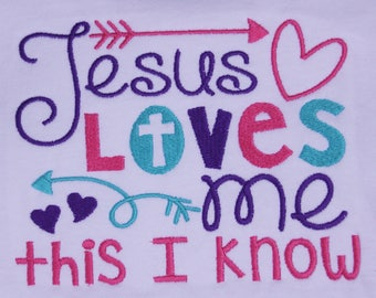 Embroidered Jesus Loves Me t-shirt, Kids Bible Shirt, Jesus loves me shirt