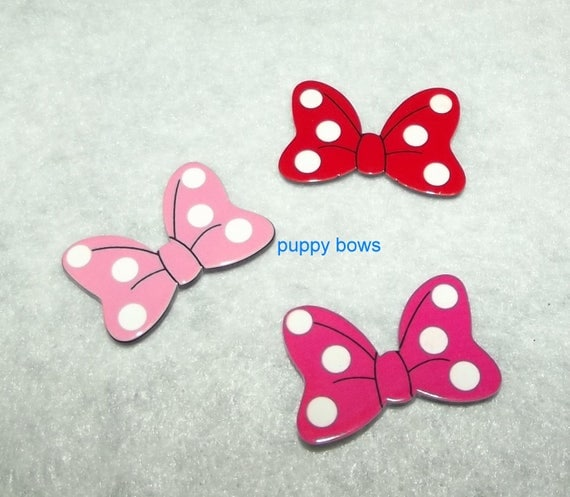 """Puppy Bows ~ Dog bow TINY 1"""" MINNIE mouse  pink red polka dot pet hair barrette clip or latex bands ~ (fb74)"""