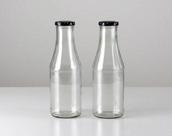 Vintage glass bottles, bottles with black lid,l screw plug bottles, bottles set