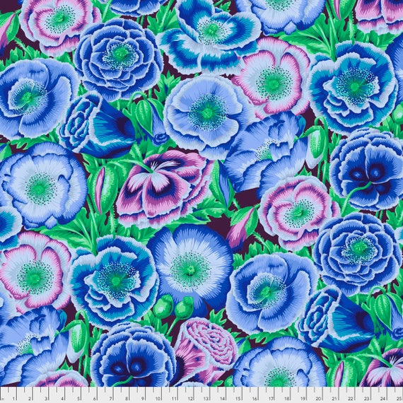 Pre-Order POPPY GARDEN Blue Philip Jacobs PWPJ095.BLUEX Kaffe Fassett Collective Sold in 1/2 yd increments Pre-Order Item
