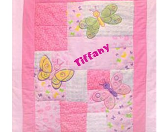 3D Butterfly Baby Quilt  (with name)