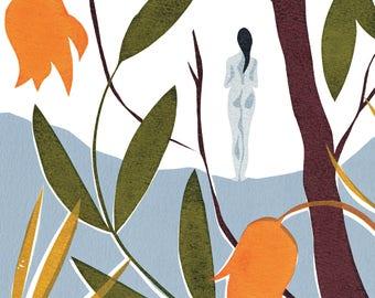 Screenprint Nature Nude Art Print