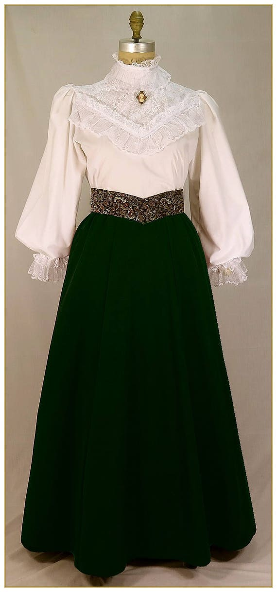 1900 Edwardian Dresses, Tea Party Dresses, White Lace Dresses Victorian Gabardine Skirt Emerald Green. Made to your choice of waist size and finished length.Victorian Gabardine Skirt Emerald Green. Made to your choice of waist size and finished length. $65.00 AT vintagedancer.com