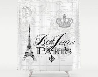 Paris Shower Curtain - map fabric, Bonjour Chic, french, crown, Eiffel Tower - home decor, bathroom, black and white spa bathroom