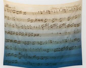 Handwritten Sheet Music Throw Blanket  - Mozart Sheet music blanket  - Antique look - aged, blue Ombre, Musician decor,  cozy gift