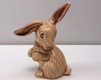 Sylvac Lop Eared Brown Rabbit - Number 1302 - Sylvac Art Deco Pottery Figure