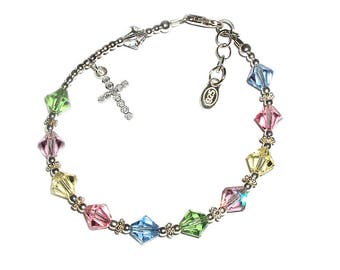 Sterling Silver First Communion Rosary Bracelet with Pastel Swarovski Crystals and Cross for Girls (034)